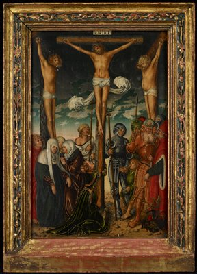 crucified Christ at center; Mary Magdalene in green gown hugs bottom of cross; two crucified men flank Christ; two soldiers in grey armor, man in orange armor, two other men and boy at right; three women and two men at left; frame received separate from painting--blue highlighted bead on three sides
