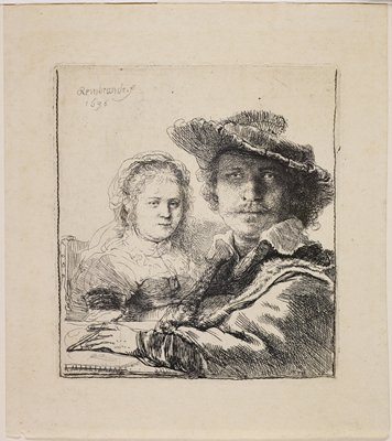 Rembrandt at right wearing a hat and holding a stylus in his PL hand; woman seated behind him to left, wearing a bonnet