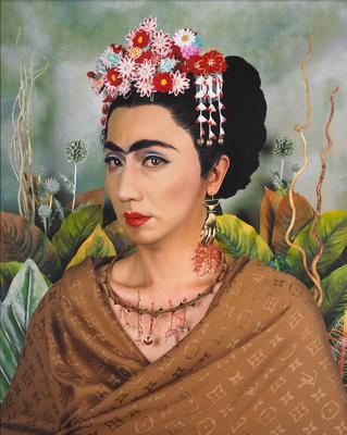 head and shoulders of figure wearing floral headpiece, brown scarf around shoulders and bronze-colored hand shaped earrings