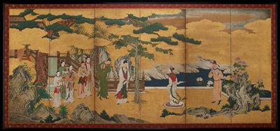 unsigned; scene with figures in foregreound: group of attendants on L with man in white facing woman in white; landscape with water in background on R; interior on L; gold leaf background