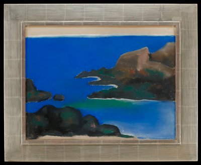 41 pastel drawing of a bright blue sea with patches of brown rocks; touch of green at center