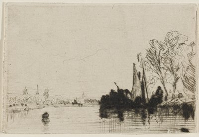 wide, calm river with a dark cluster of human figures and boat sails at R bank; dark object in water at LL; trees on R bank, low foliage on L bank