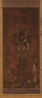 male figure with flames behind back; holds sword up in PR hand and beads out in PL hand; face is grimacing, with one fang pointing up on one side of his mouth, and down on the opposite; red male figure at his L foot looking down holding a staff; female figure at his PL foot