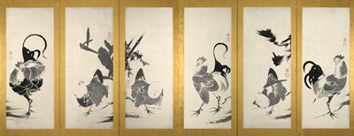 six panel screen; roosters or hens with chicks on each panel; R panel shows a hen bent over with two chicks at her side; hen is displaying tail in the air