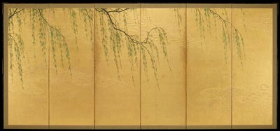 willow branches descending from above against a gold background with clusters of elevated cloudlike motifs