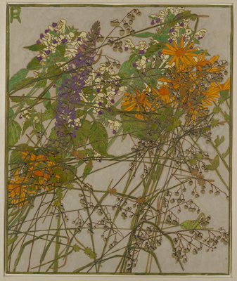 recto: grasses and flowers on long, thin green stems on grey ground; flowers are orange daisies, small white, pale yellow and purple flowers and one stalk with many small purple blossoms, and pale green and black tiny seed pods; grasshopper on stem in LRC; artist's initials in a monogram in ULC; green border; received framed--verso not examined as of 4/14/17
