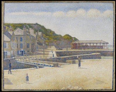 Pointillism. Landscape. Fishing port.