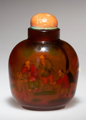 amber glass; coral top; shadow painting inside