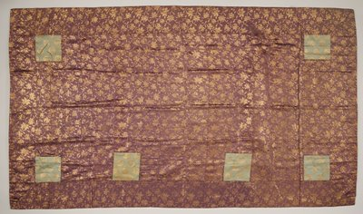 Priest Robe, mulberry and gold brocade with four small squares of light blue and gold brocade set in.