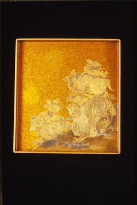box, lid and inner tray, decorated with landscape motif; black and gold in Hiramakiye and Takamakiye