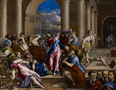 Religion: NT. Purification of the temple. Christ driving the money-changers from the temple with a whip.