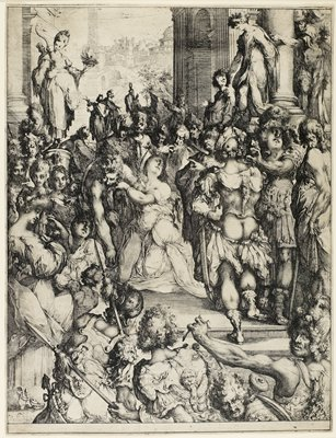 kneeling woman at center of image surrounded by various figures of men (some wearing armor garments) and some women at L; view down city street at UL: columns in upper corners with figures standing on plinths