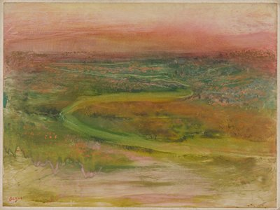 S-shaped path in an abstracted landscape; greens; pinks in foreground, LLQ; rust-oranges in spots scattered throughout; pinkish-orange sky