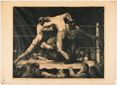 boxing match with two figures in ring with official behind them; figures around elevated boxing ring gesturing and talking