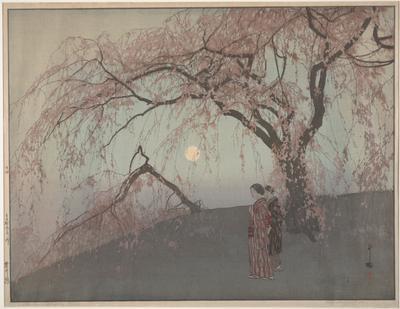 large cherry tree in full blossom at R; smaller, bent cherry tree, also in full blossom at center; two kimono clad women gaze toward LL; moon rising at center; first woman wears purple striped kimono, clutches purse in PL hand; second woman wears dark striped coat over purple kimono