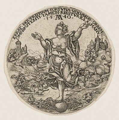 roundel: female figure with windblown dress, balancing on one leg on a winged ball, with both arms raised upward; behind her is a rugged valley with a few buildings including a house, churches, and castles