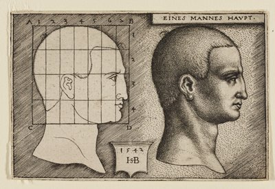 two profiles of a man's face facing R; L is an outline of theface and features with an overlaid grid; face at R is fully detailed and shaded