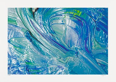 abstract image; multicolored swirling pigments- blue, green, black and yellow