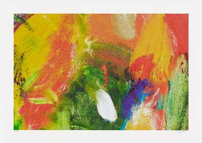 abstract image; bright, multicolored pigments in textured sections of green, yellow, orange, purple and white