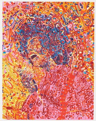 psychedelic-style portrait of African American political activist Angela Davis; colorful image of figure in profile, yelling into microphone; image is formed by words in yellow, red, magenta, purple, orange, and blue