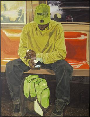 """image of a Black man seated on orange plastic bench on a bus or train with his elbows on his thighs, looking at his cellphone; man wears bright yellow long-sleeved shirt, grey pants, boots and fluorescent green cap with """"MINNESOTA"""" in black across front; fluorescent green and grey backpack between man's feet; painterly style; metal stretcher; received unframed"""