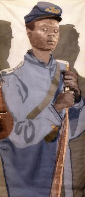 image of a young Black man in blue military garb holding a rifle; white ground with grey shadows behind him; rod pocket on verso for hanging