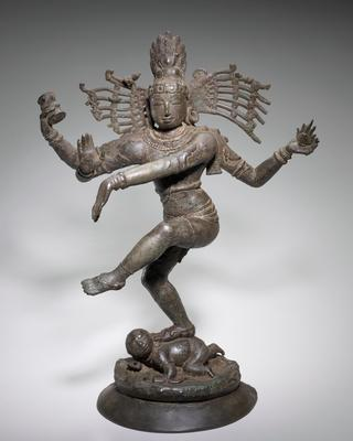 Found in a temple near Pondicherry. The figure represents cosmic activity. The significance of the gestures is as follows the drum in the right hand signifies creation; the fire in the upper left hand, destruction; the abaya (fear not) position of the lower right hand, protection; the position of the raised left foot, salvation; the foot placed on the prostrate dwarf, Apasmarapurusa, removal of illusion/ignorance.