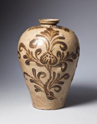 abstracted peony motif in shades of brown; narrow base, wider shoulder, short lip