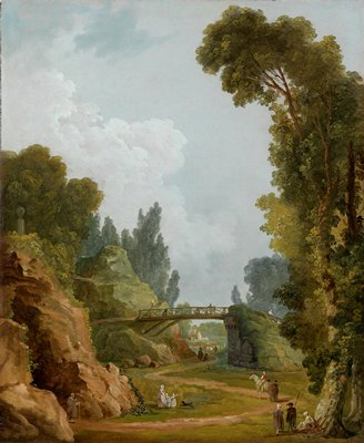 Landscape. Romantic landscape with large trees, and a bridge suspended between two great rocks. In the foreground groups of figures strolling, talking and riding. This scene painted at the Chateau de Méréville.