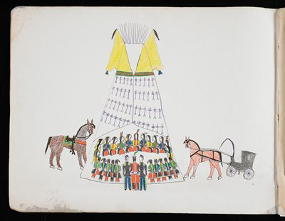 ledger book of 16 drawings of various scenes