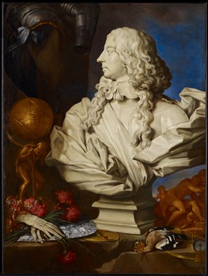 Still life showing bust of Francis I of Este with attributes armor, a globe, gloves, a silver platter, a bird and an astrolabe. Unsigned.