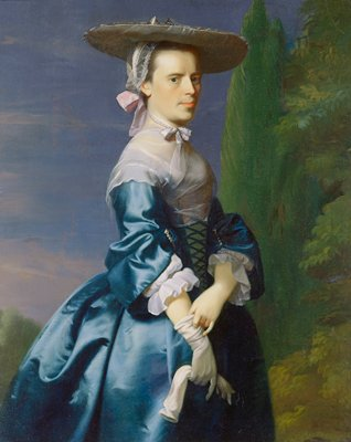 Three quarter-length portrait of a woman in a blue satin dress with broad flat hat, pulling on her glove.