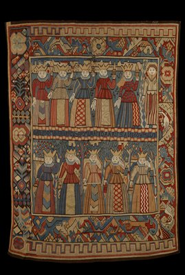 the main field of the tapestry is divided into two horizontal compositions by an inscription on a horizontal center band that reads DA FE MOMRVERVARE V SE FEM V ARTE DAARL. F'S. ANNOAM 63/1; warp undyed bast figer, 4-4½ ends per cm. weft dyed wool, 18-34 ends per cm.
