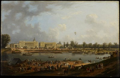 Place de la Concorde, seen from the left bank of the Seine. Shows the beginning of the first manned hydrogen balloon flight from the Tuileries Garden, Paris to Nesle, a distance of twenty seven miles.