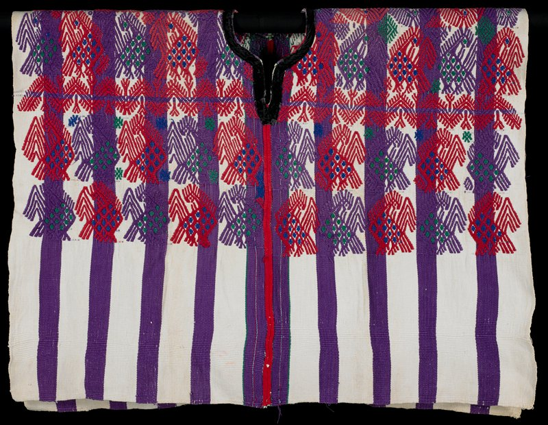 wide purple and white warp stripes; bird (turkey) designs at top in red, purple, green and blue; cut-out round neckline with black velvet trim; open on sides