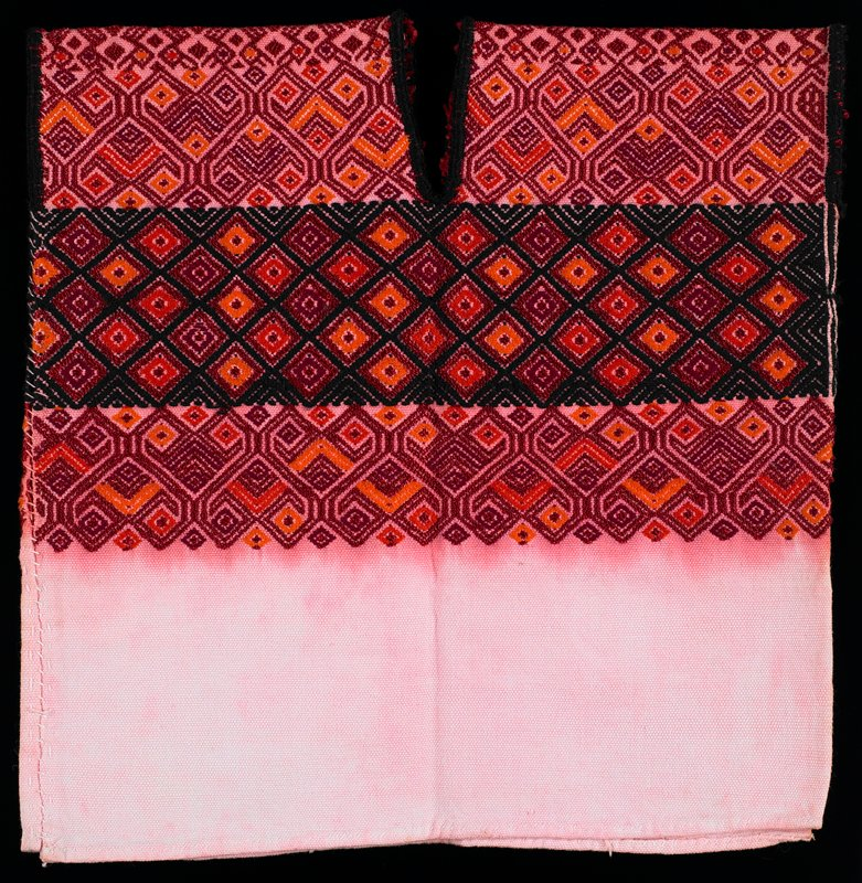 white (stained pink) ground with brocade on top in red, orange and black