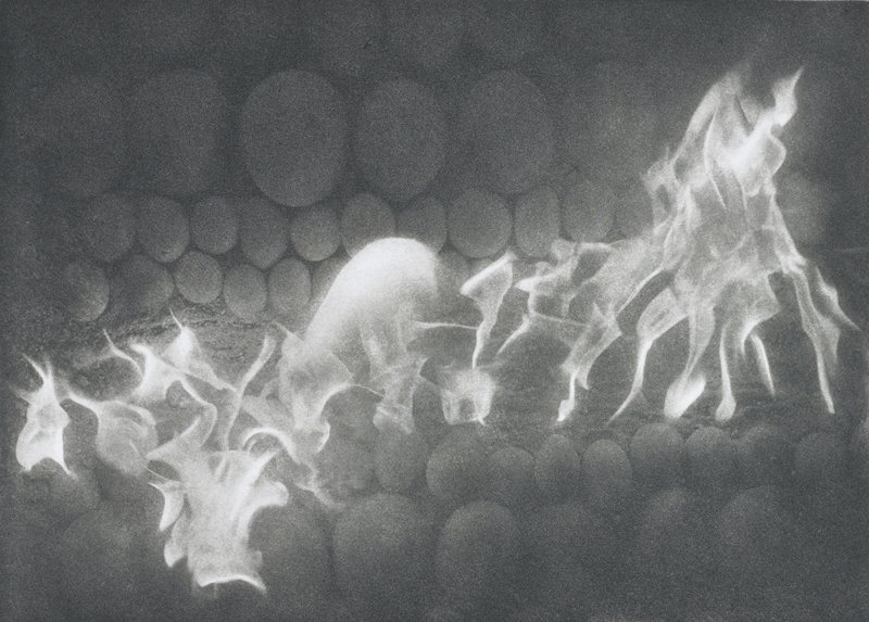 abstracted image; horizontal rows of different sized rounded elements at top and bottom; flames at center, with rounded flame at center of image