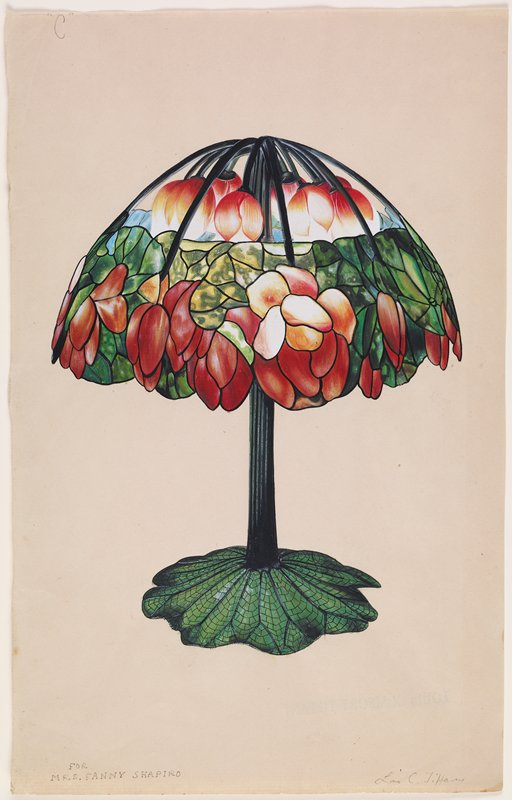 watercolor sketch for a table lamp with leafy base and floral shade, which appears open at top with individual floral light sockets