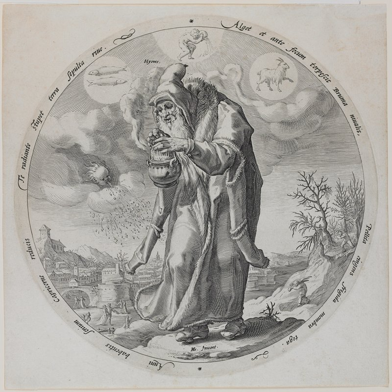 old bearded man wearing a long fur-trimmed coat and pointed cap, holding a small flaming kettle; symbols for Pisces, Aquarius and Capricorn in sky; face blowing snowy wind at left; round image