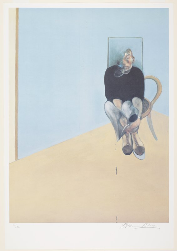 abstracted figure wearing brown boots, black shirt and blue-grey pants seated on a chair in the corner of a room with blue walls and tan floor