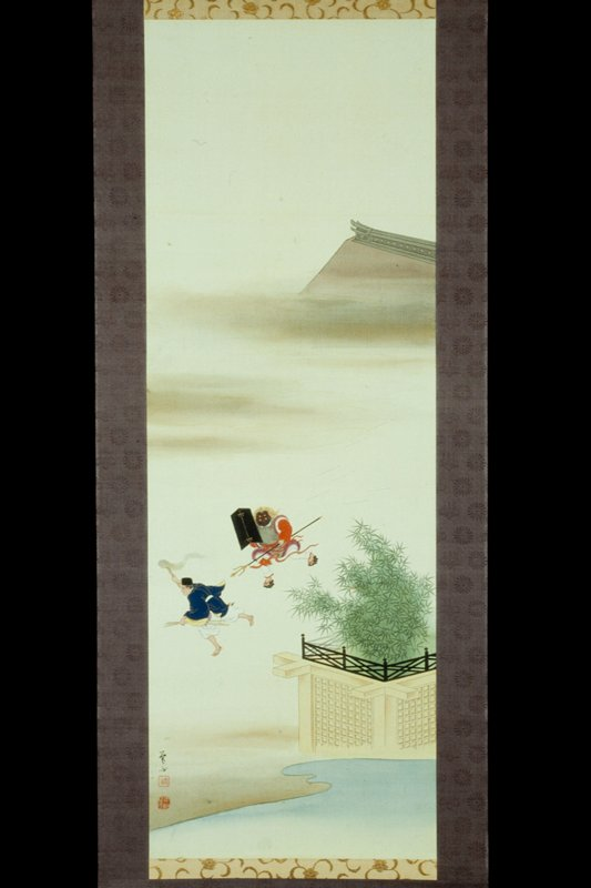 one of a group of nine hanging scroll paintings