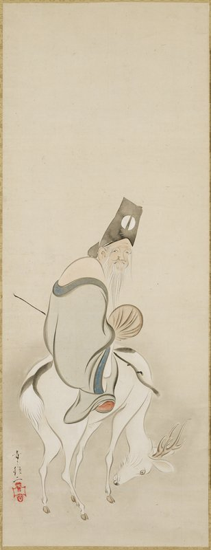 old man with long white beard wearing black hat and pale blue garment, seated on a white deer with its head down; undefined ground