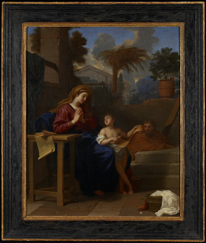 The scene depicted is the Holy Family in Egypt during a moment of temporary refuge from the pursuing soldiers of King Herod. The artist has represented the Christ Child reading to the Virgin while Saint Joseph reclines inconspicuously in the background.