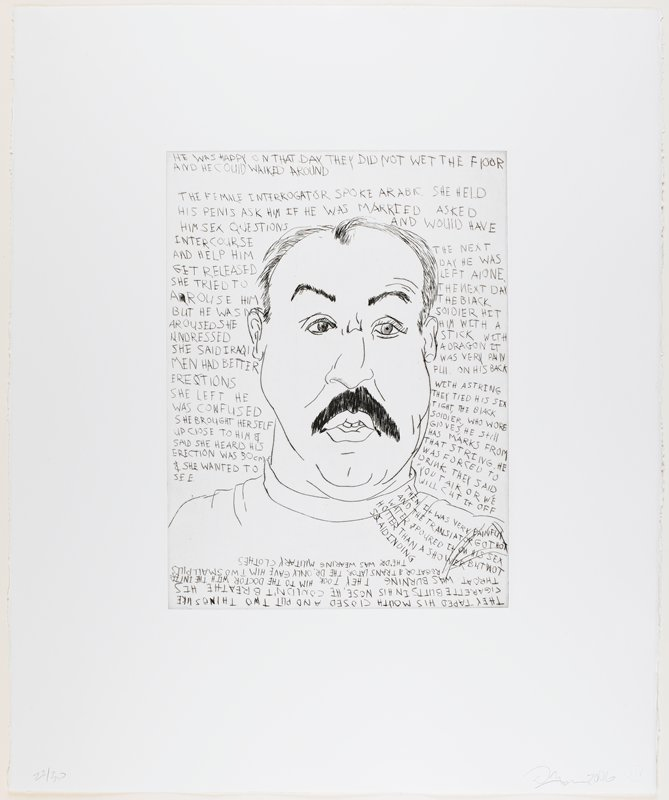 line drawing-style portrait of a man with a heavy face, thin hair and a large dark moustache; text around man's head, on shoulder and at bottom