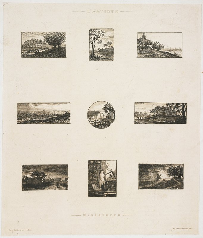 nine miniature etchings on a single sheet of paper: one still life, six landscapes and two views of Paris from Montmartre (general panorama, and a view of Montmatre's windmill).