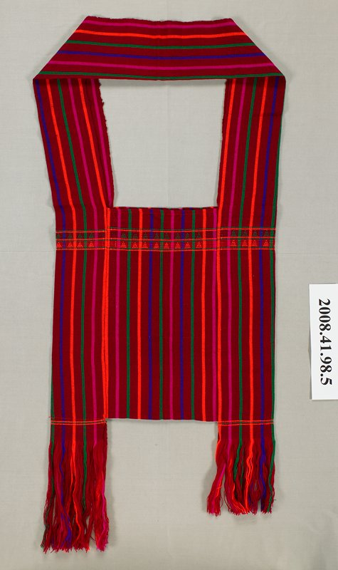 maroon with fuchsia, green, purple and orange stripes; geometric triangle band in green and orange at top; wide strap and side panel all in one; self fringe at lower corners