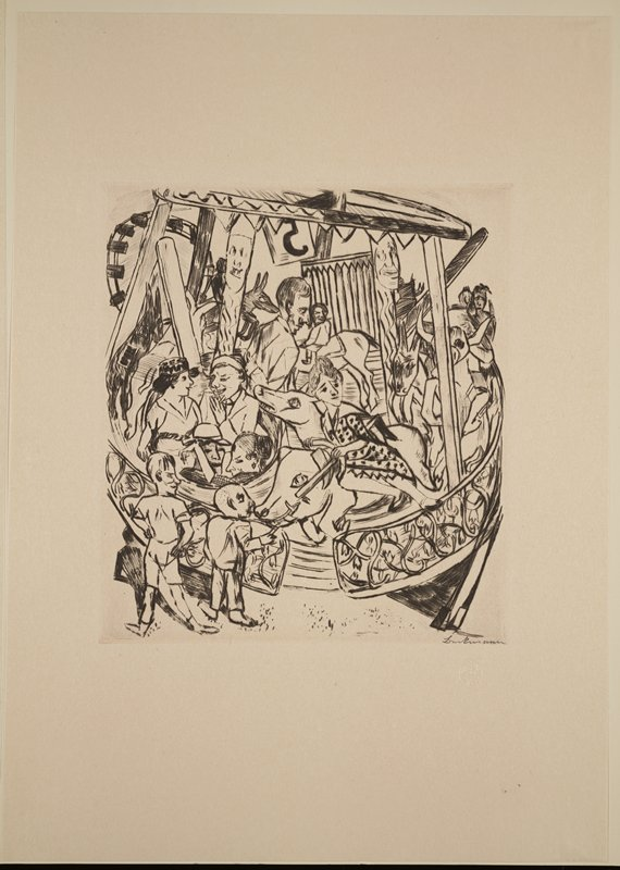 carousel scene; woman in dress on boar; two couples in circular seat; child on horse; carved posts with faces; two men watching the ride in foreground; number seven embossed into lower center of window mat
