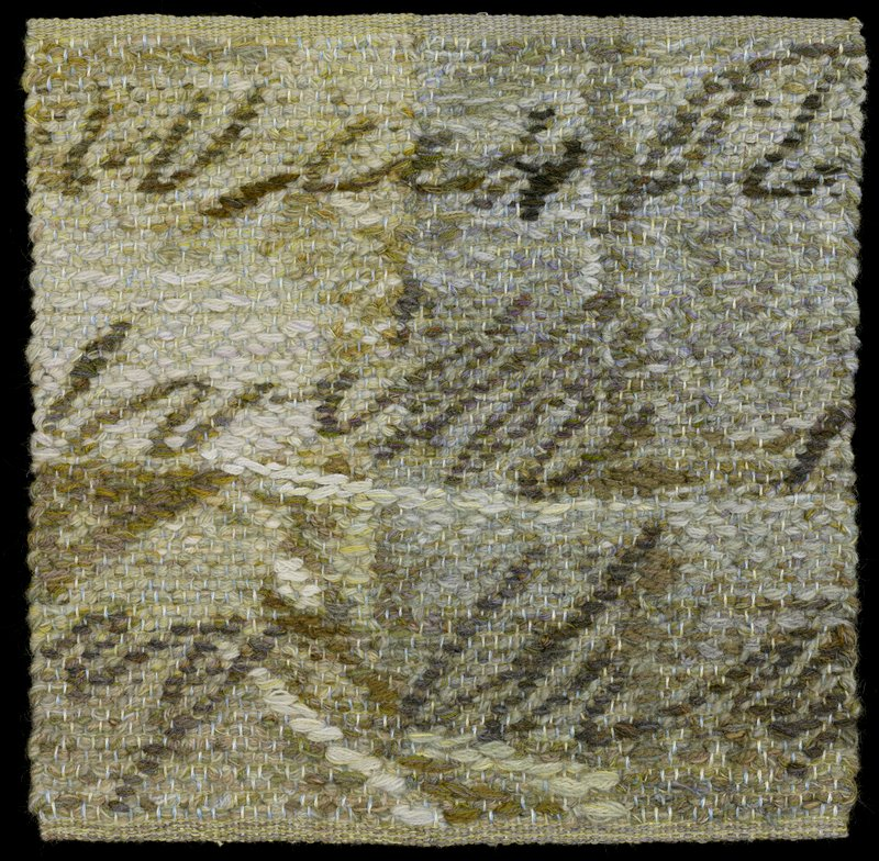 woven in blues, white, browns, light grey, greens; abstracted image with brown lines similar to handwritten text; grey heading band on back