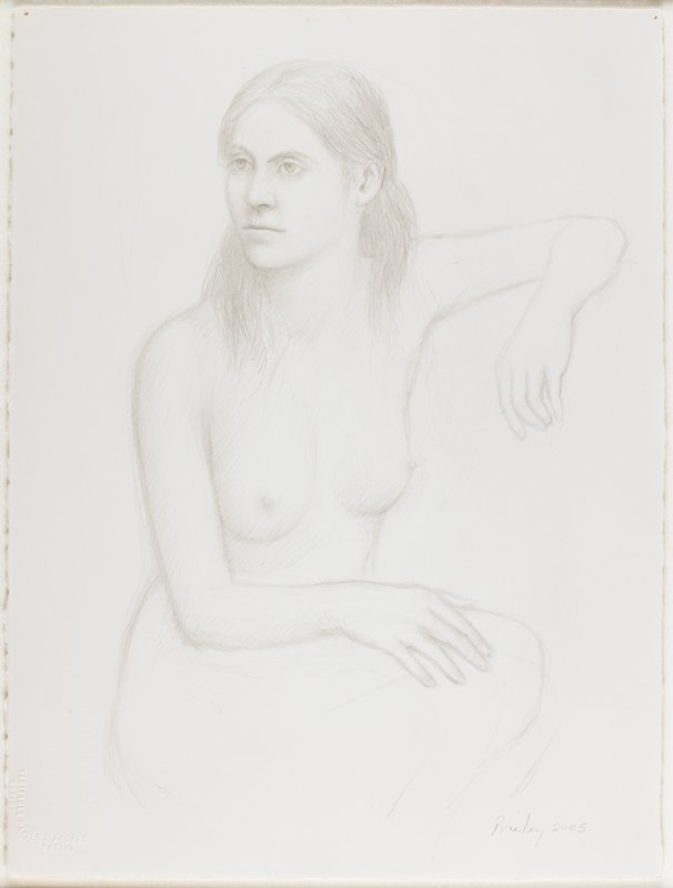 3/4 length sketch of a nude woman with long hair, seated with her knees drawn up and to the side, her PL elbow resting on a high undrawn object and her PR hand on her knee