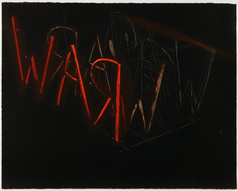 black ground; red sketchy letters on a diagonal downward from ULQ: WAR (backwards R), with lighter, sketchy version of same letters in reverse behind bright red letters; outlines of sketchy white letters--RAW--behind lighter orange letters